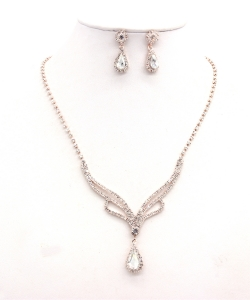 Rhinestone Necklace with Earrings NB300616 RGCL