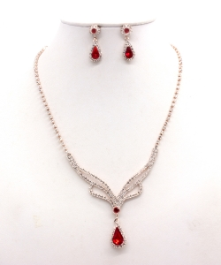 Rhinestone Necklace with Earrings NB300616 RGLM