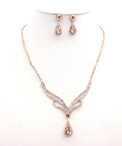 Rhinestone Necklace with Earrings NB300616 RGLP