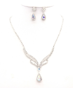 Rhinestone Necklace with Earrings NB300616 SVAB