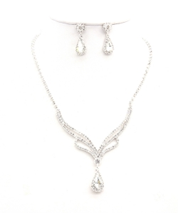 Rhinestone Necklace with Earrings NB300616 SVCL