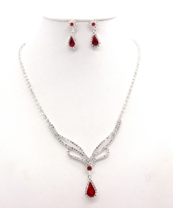 Rhinestone Necklace with Earrings NB300616 SVLM