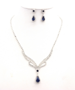 Rhinestone Necklace with Earrings NB300616 SVMO