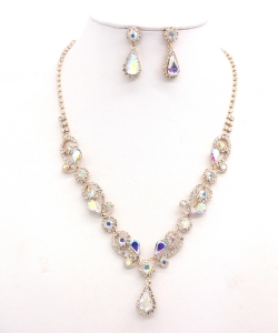 Rhinestone Necklace with Earrings NB300618 GDAB