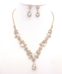 Rhinestone Necklace with Earrings NB300618 GDCL
