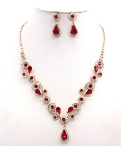 Rhinestone Necklace with Earrings NB300618 GDLM