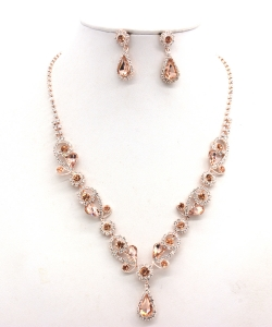 Rhinestone Necklace with Earrings NB300618 RGLP