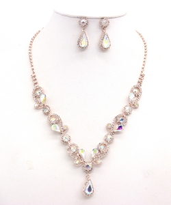 Rhinestone Necklace with Earrings NB300618 RGAB