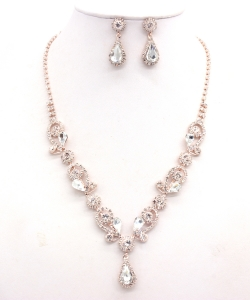 Rhinestone Necklace with Earrings NB300618 RGCL