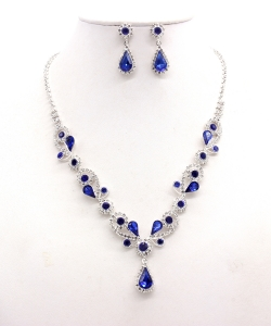 Rhinestone Necklace with Earrings NB300618 SVCB