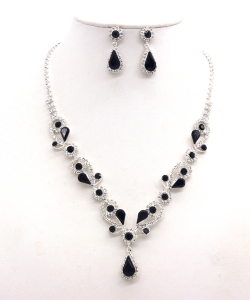 Rhinestone Necklace with Earrings NB300618 SVJT