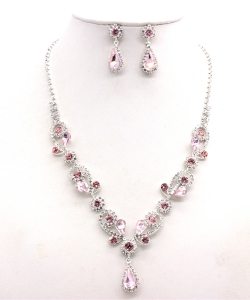 Rhinestone Necklace with Earrings NB300618 SVLR