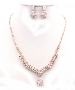 Crystal Rhinestone Jewelry Set for Women NB300623 ROSEGOLD CL