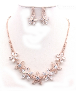 Crystal Rhinestone Jewelry Set for Women NB300624 ROSEGOLD CL