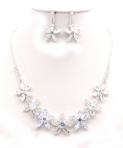 Crystal Rhinestone Jewelry Set for Women NB300624 SILVER CL