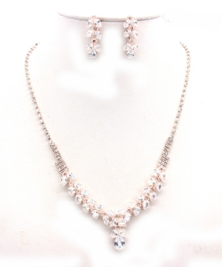 Crystal Rhinestone Jewelry Set for Women NB300625 ROSEGOLD CL