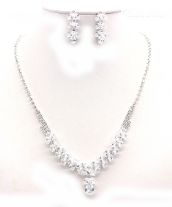 Crystal Rhinestone Jewelry Set for Women NB300625 SILVER CL