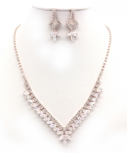 Crystal Rhinestone Jewelry Set for Women NB300626 ROSEGOLD CL
