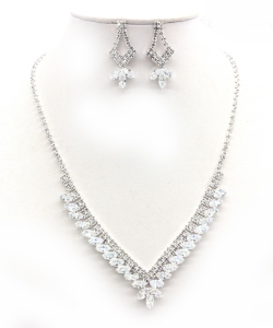 Crystal Rhinestone Jewelry Set for Women NB300626 SILVERCL