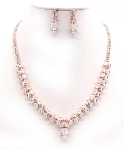 Crystal Rhinestone Jewelry Set for Women NB300627 ROSEGOLD CL