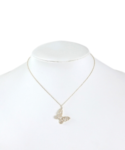 Rhinestone Butterfly Pendant Necklace NB320023 GOLD