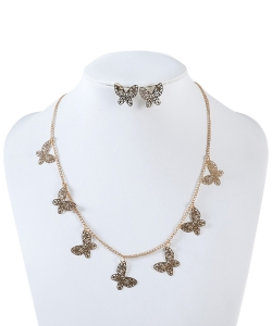 Rhinestone Butterfly Station Necklace Earrings Set NB320024 GOLD