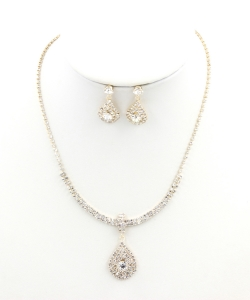 Rhinestone Necklace with Earrings NB330034 GDCL