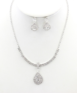 Rhinestone Necklace with Earrings NB330034 SVCL