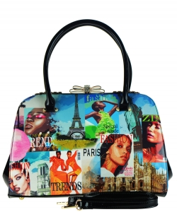Magazine Print Patent Shoulder Design Handbag NB8001PA BLACK