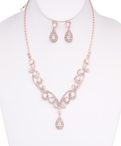 Crystal Necklace with Earrings NB810017 ROSEGOLD