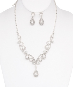 Crystal Necklace with Earrings NB810017 SILVER