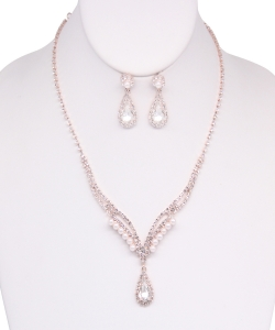 Rhinestone Necklace with Earrings NB810018 ROSEGOLD