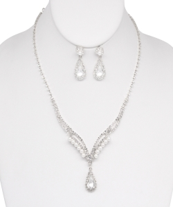 Rhinestone Necklace with Earrings NB810018 SILVER