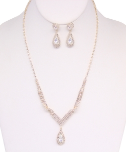 Rhinestone Necklace with Earrings NB810019 GOLD
