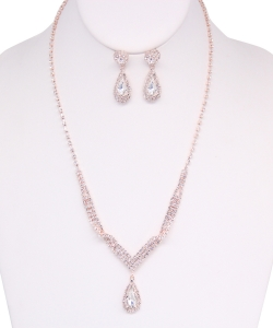 Rhinestone Necklace with Earrings NB810019 ROSEGOLD