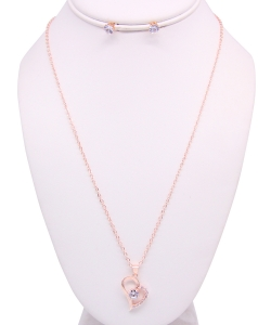 Rhinestone Necklace with Earrings NB810020 ROSEGOLD