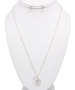 Rhinestone Necklace with Earrings NB810020 SILVER