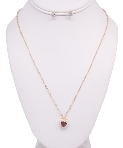 Heart Pendant Necklace with Earrings NB810022 GOLDLM