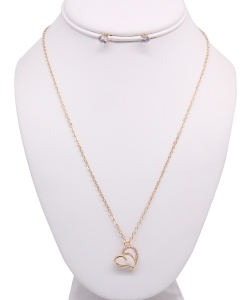 Heart Pendant Necklace with Earrings NB810024 GOLD