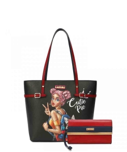 Nikky by Nicole Lee 2PC Tote Bag Set NK12101LCT CUTIE PIE