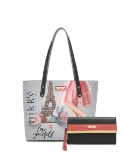 Nikky by Nicole Lee 2PC Shopper Bag Set NK12102LCT NIKKY CHIC