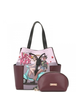 Nikky by Nicole Lee 2PC Set Satchel Bag NK12104LCT LOVE