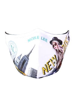 Nicole Lee Stamp Filtered Protective Mask NLM002 NEW YORK WALK WHITE