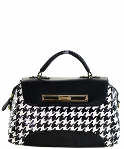 Patent Black and White Checkered Handbag NNE004 BLACK