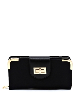 Nylo Turn Lock Crossbody Wallet NP041 BLACK