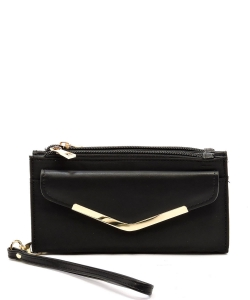 Fashion Nylon Bifold Envelope Wallet Wristlet NP042 BLACK