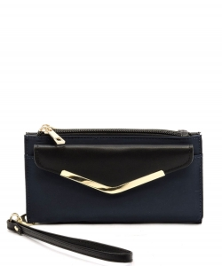 Fashion Nylon Bifold Envelope Wallet Wristlet NP042 NAVY