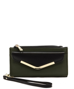 Fashion Nylon Bifold Envelope Wallet Wristlet NP042 OLIVE