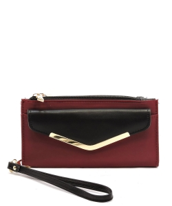 Fashion Nylon Bifold Envelope Wallet Wristlet NP042 WINE
