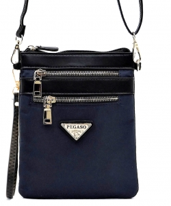 Nylon Multi Zipper Crossbody Bag NP2582L NAVY